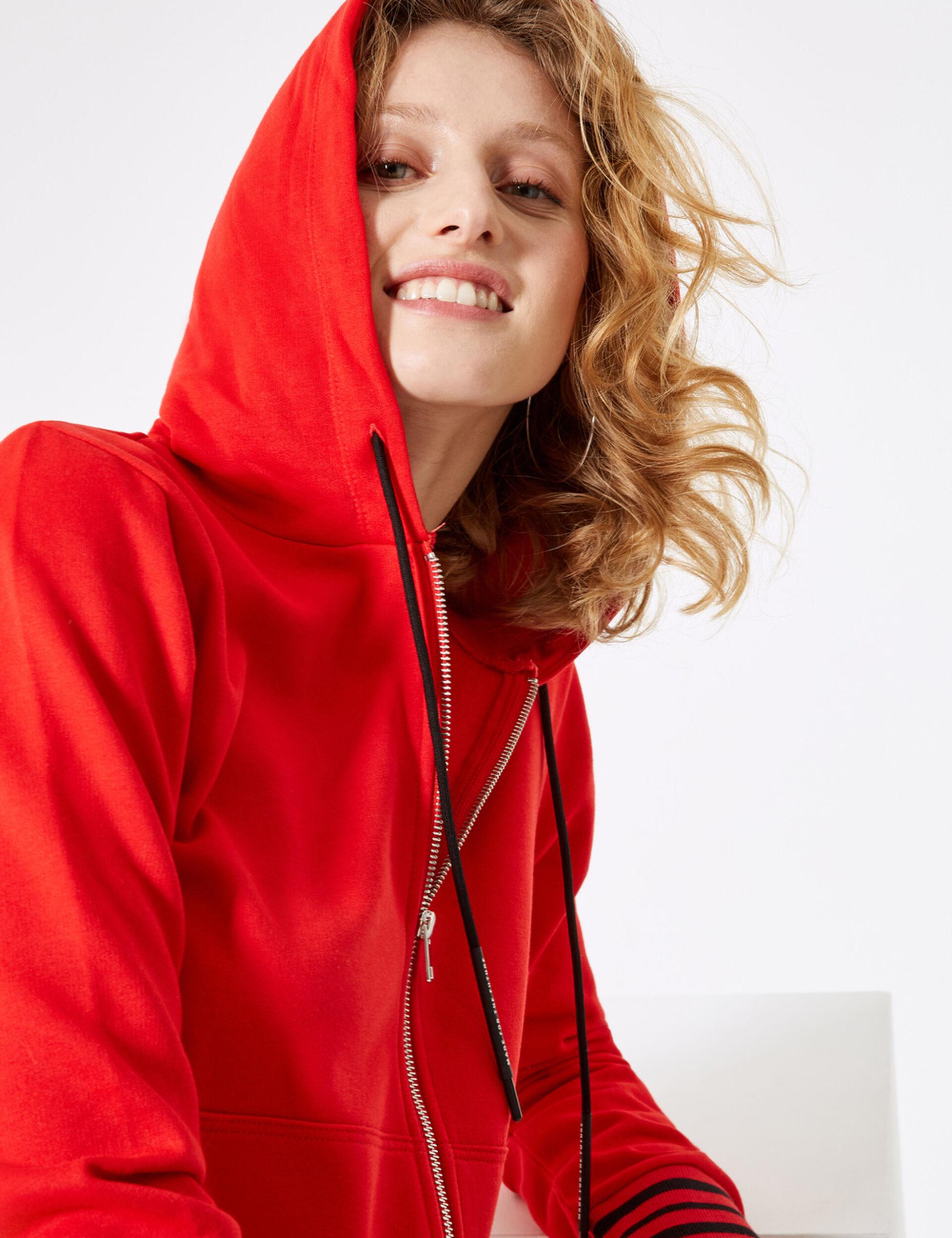 Red zip-up hoodie