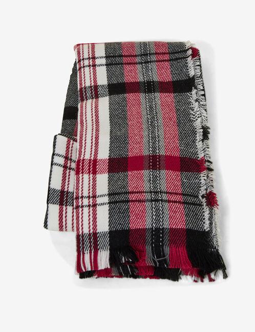 Black, cream and burgundy tartan scarf