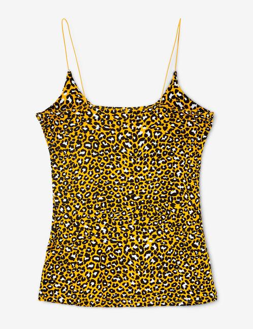 débardeur léopard ocre, noir et blanc