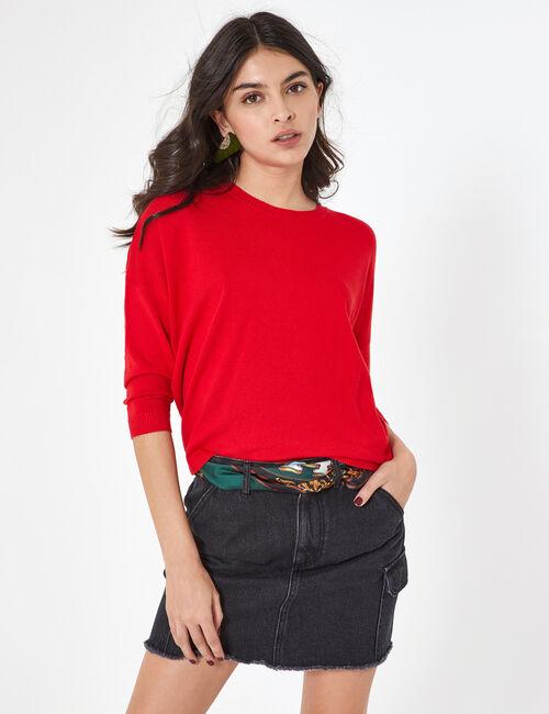 Black denim skirt with pocket detail