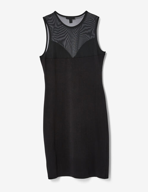 Black mixed fabric dress with knot detail