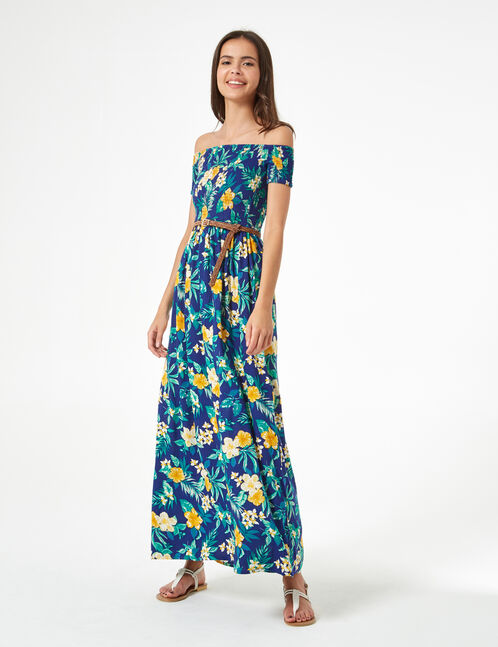 robe longue fleurie bleu marine, jaune et verte