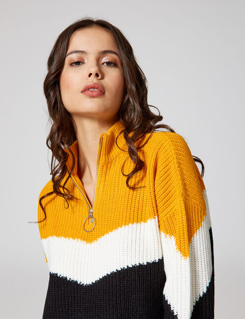 Ochre, black and cream zipped tricolour jumper