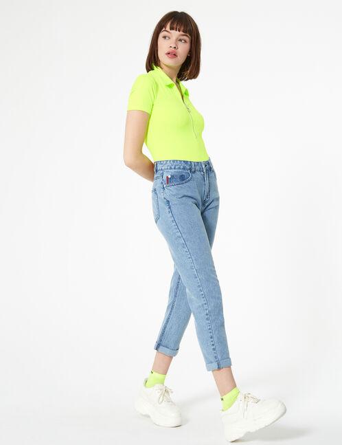 Neon yellow polo-style zipped bodysuit