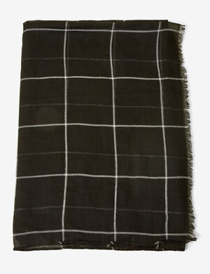 foulard à carreaux noir et( blanc