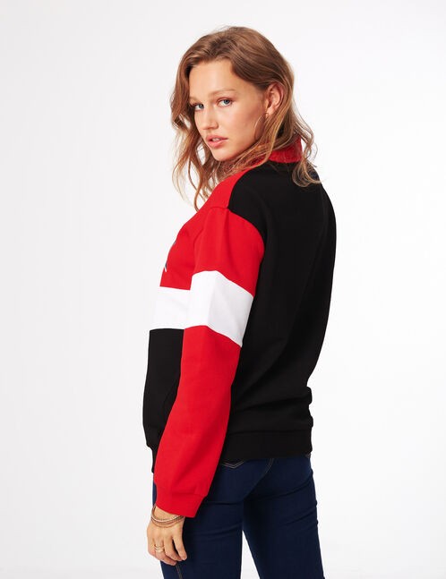 "Red, white and black tricolour ""priority"" sweatshirt"