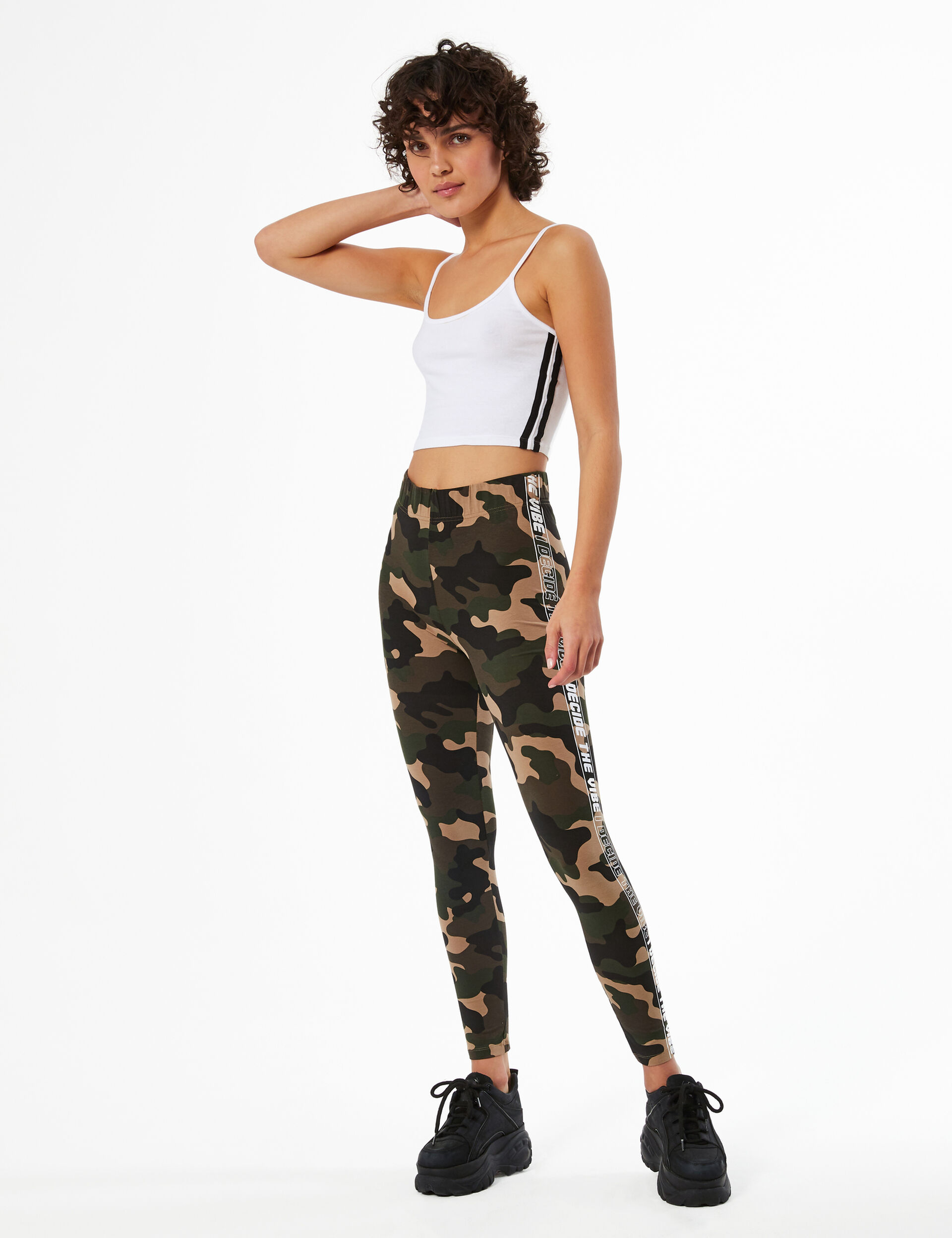 Camouflage leggings with text design trim detail