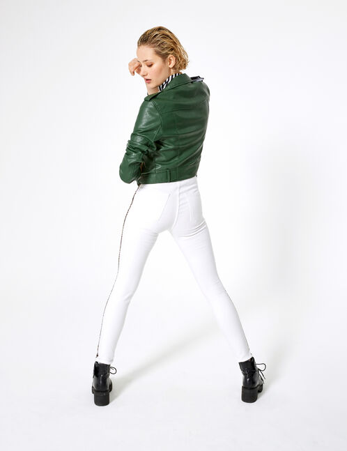 White jeggings with leopard print trim detail