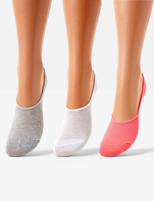 chaussettes invisibles blanches, grises et rose fluo