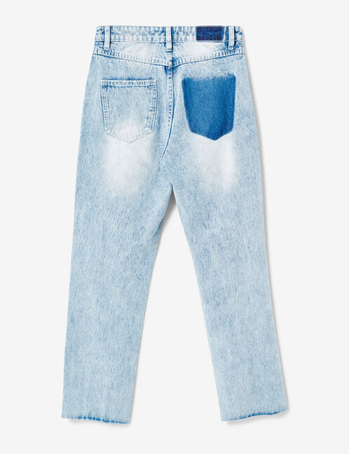 jean mom fit zippé bleu clair