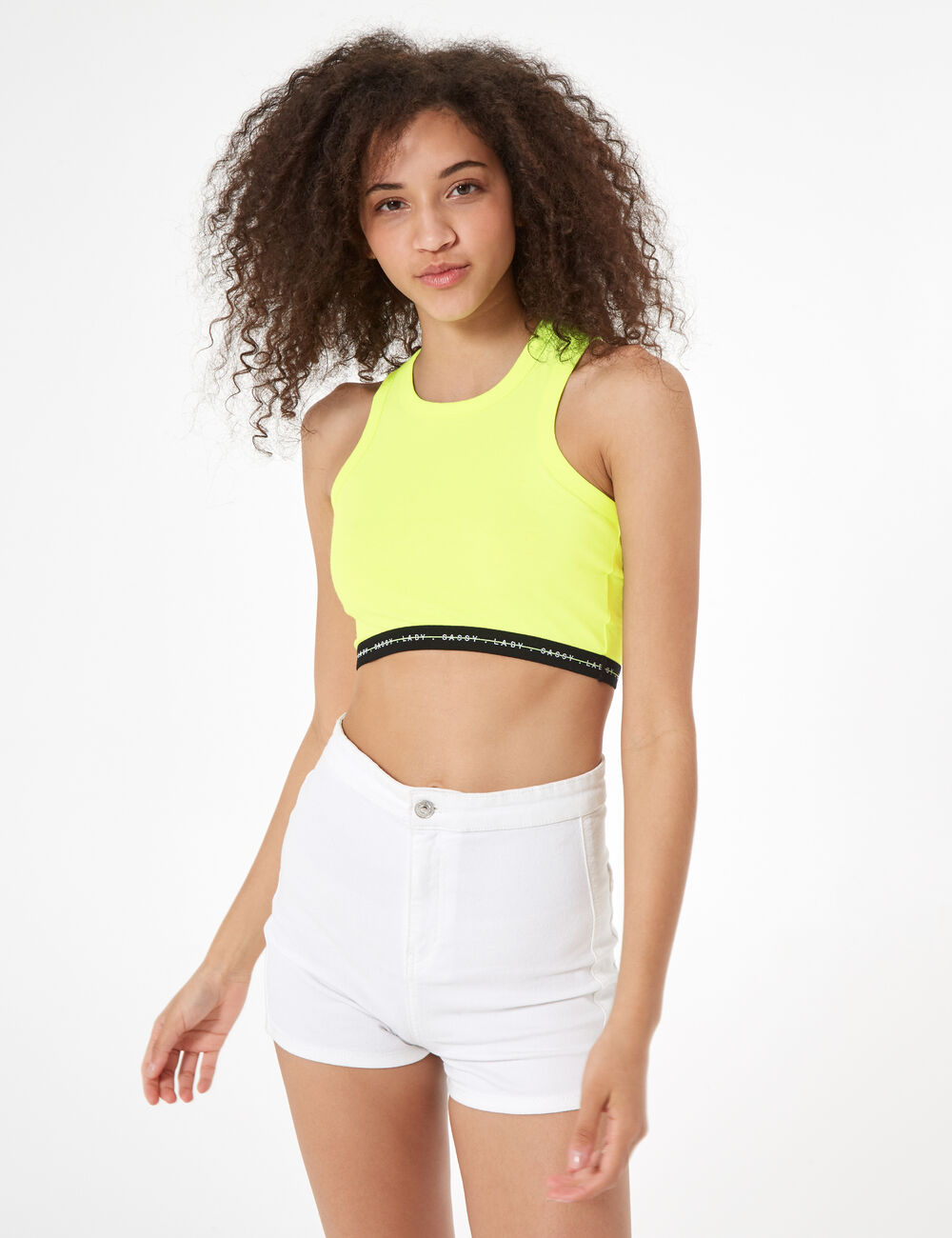 750fa89072e Neon yellow elasticated sports bra woman • Jennyfer