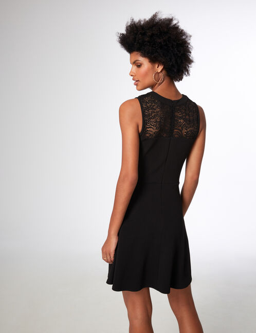 Black mixed fabric dress