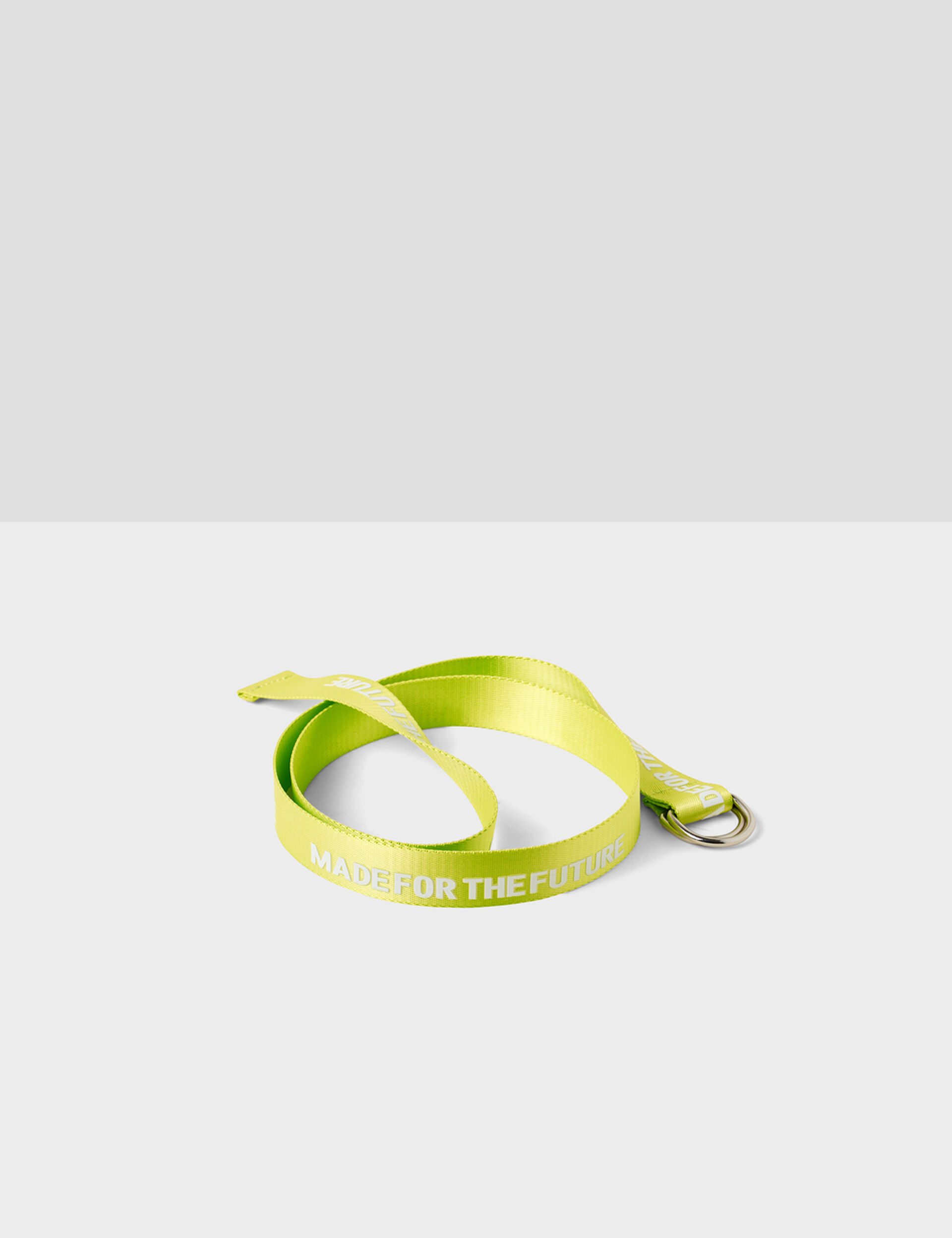 "Neon yellow ""made for the future"" belt"