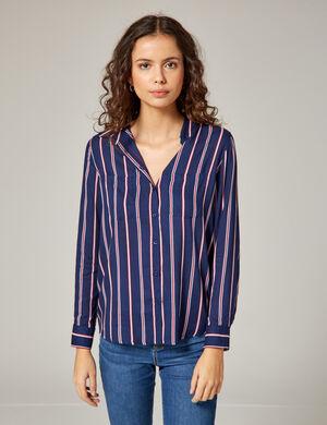 chemise à rayures bleu marine