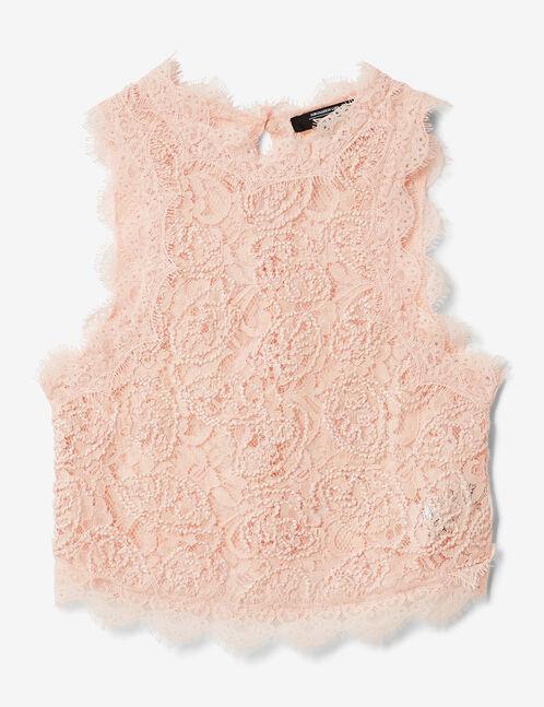 blouse en dentelle rose clair