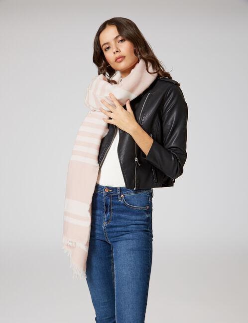 Light pink and white striped tartan scarf