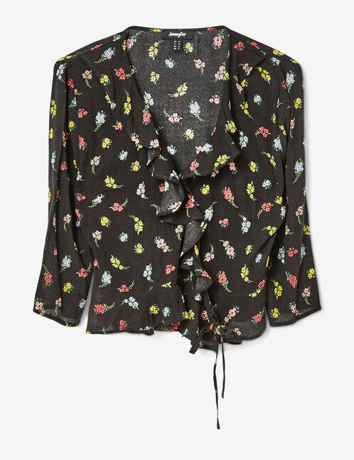 blouse cache-coeur à volants noire