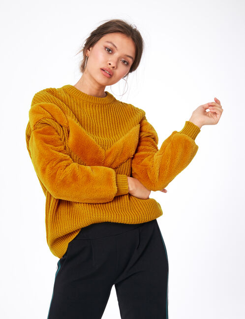 Ochre mixed fabric jumper