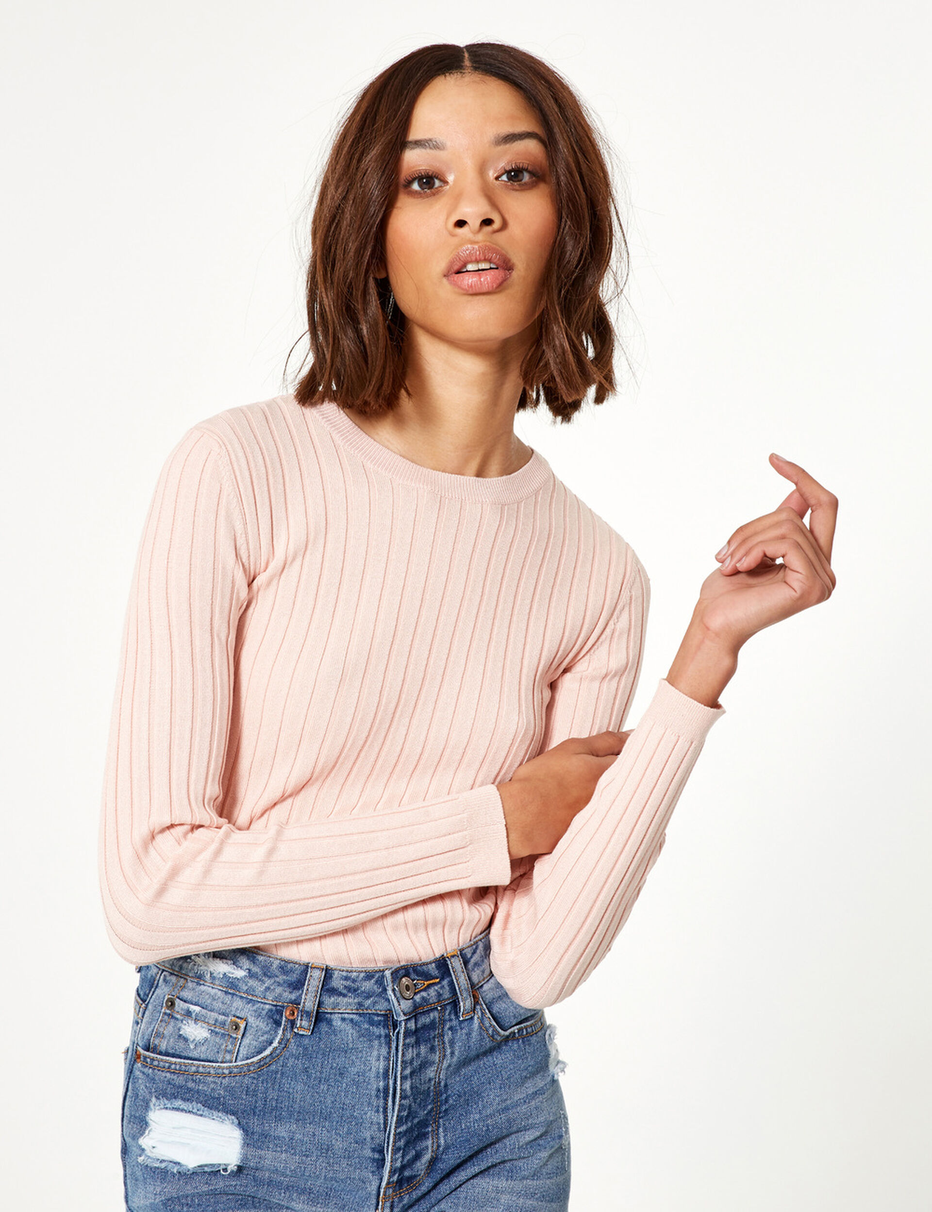 Pale pink jumper with back lacing detail