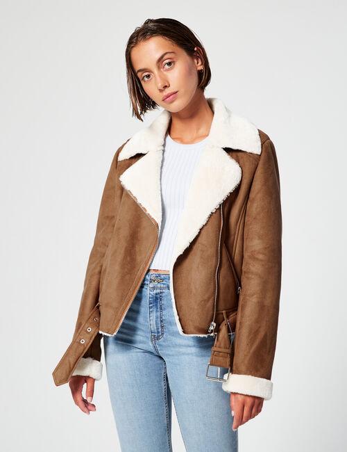 Imitation suede jacket