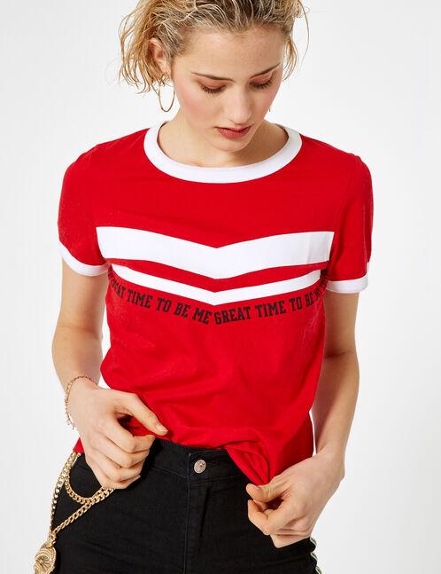 Red and white chevron print T-shirt