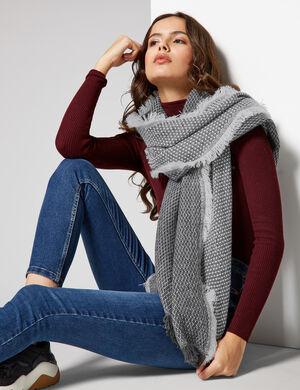 écharpe bicolore grise et écrue