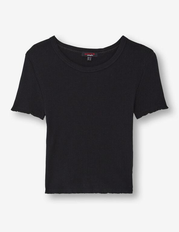 Waffled knit T-shirt