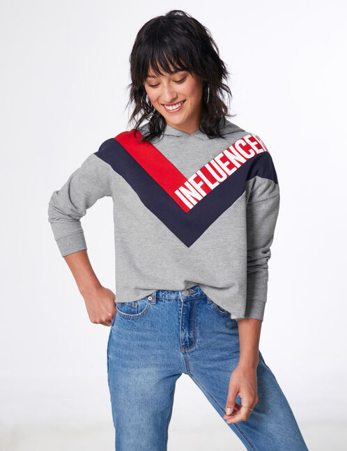 "Grey marl, red and navy blue ""influencer"" hoodie with chevron detail"