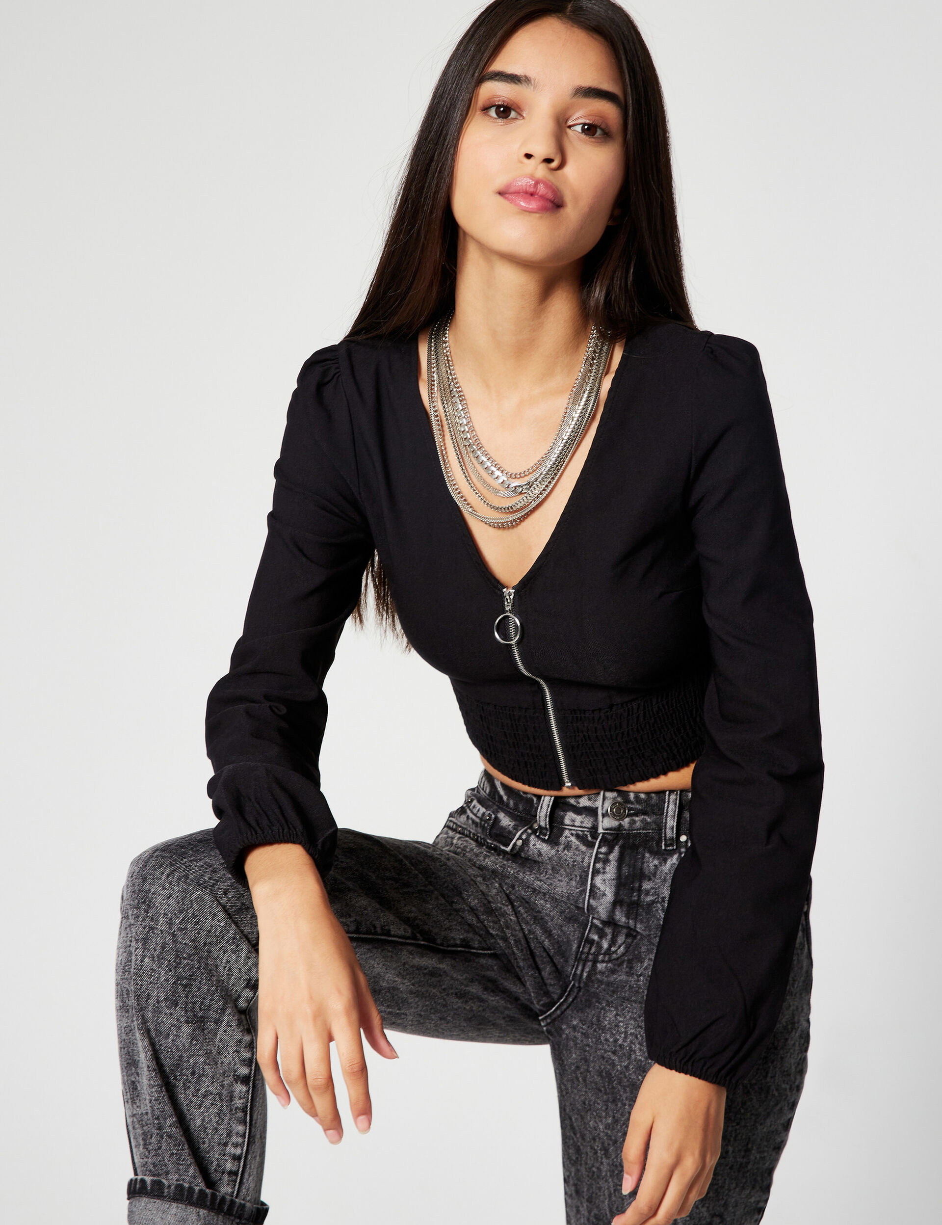 Zipped cropped blouse