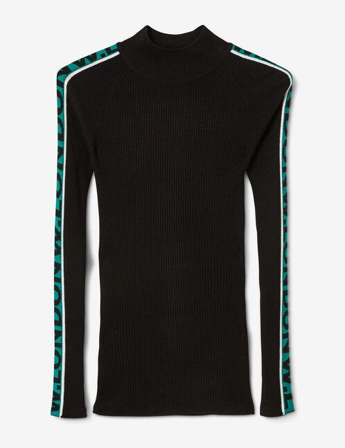 pull côtelé w london noir et vert