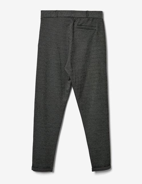 pantalon ville rayé noir et écru