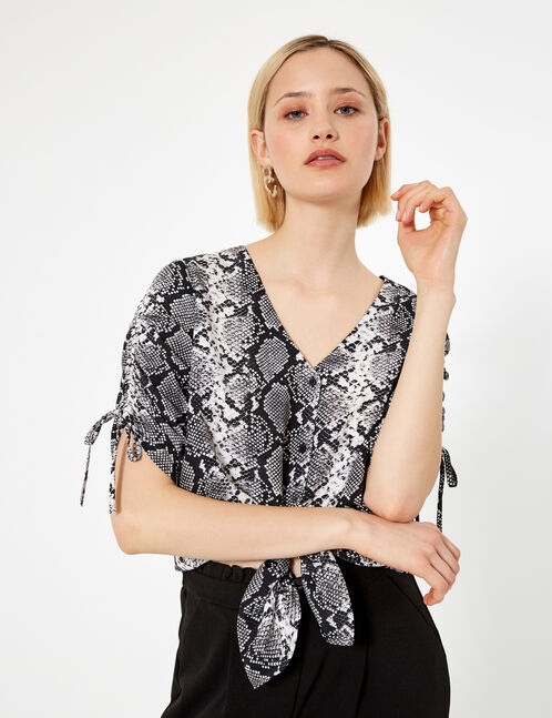 Black and cream python print blouse with gathered sleeve detail