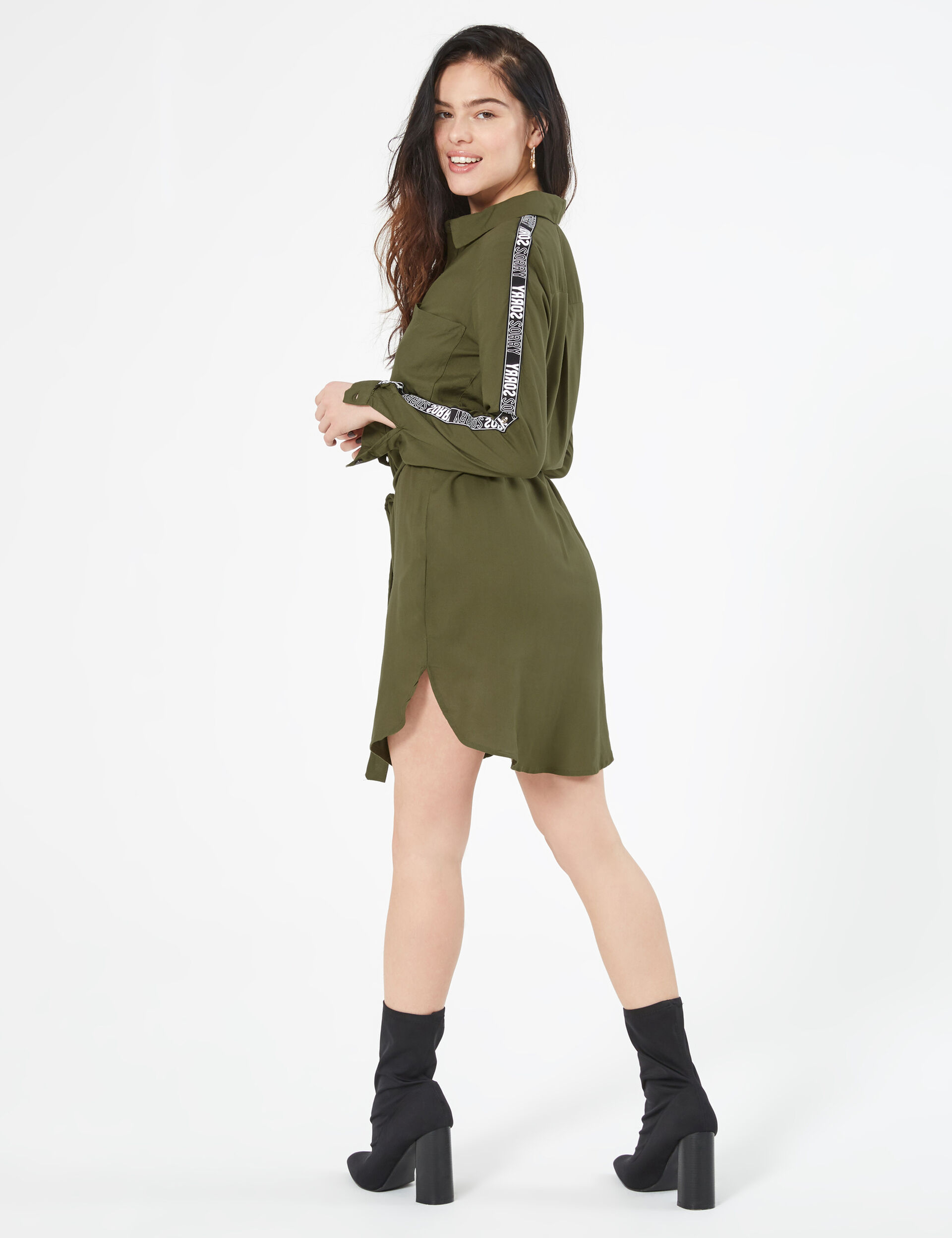 Shirt dress with trim detail