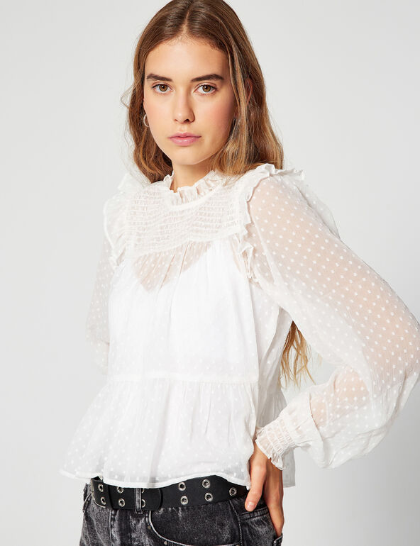 Dotted Swiss blouse with frills