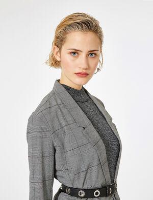 Product Veste blazer femme, noir, blanc et prune, motif prince de galles, bandes velours noires sur les côtés, 2 poches, manches longues.  Photos retouchéesMarque Jennyfer Catégorie vestes + manteaux