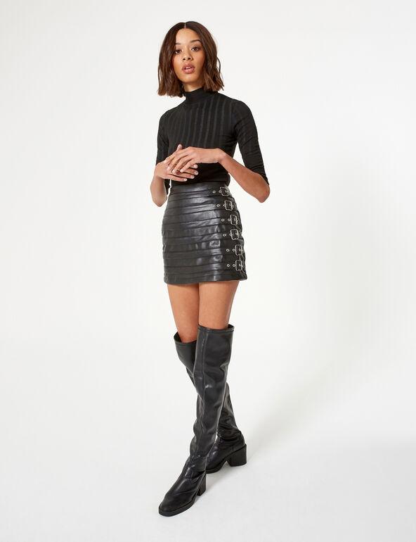 Mini jupe avec boucles noire
