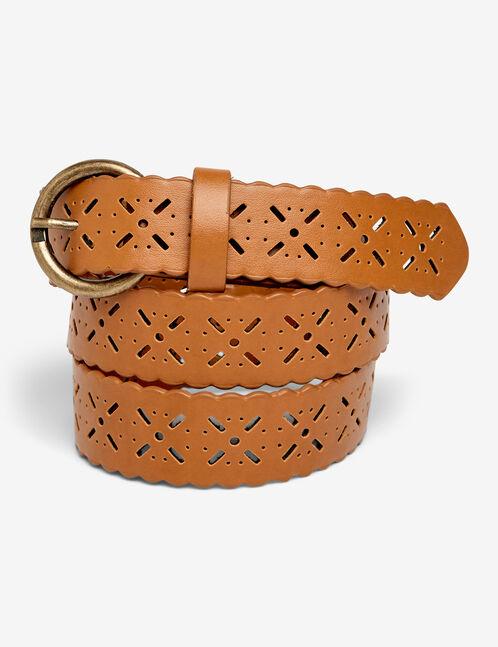 ceinture perforée marron