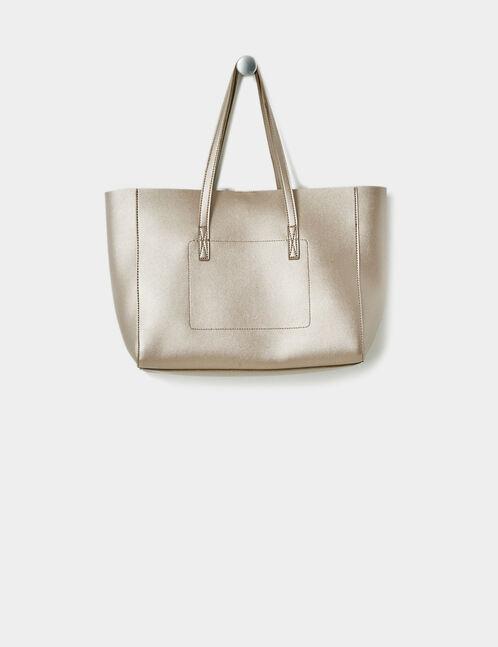 Chestnut brown shiny tote bag
