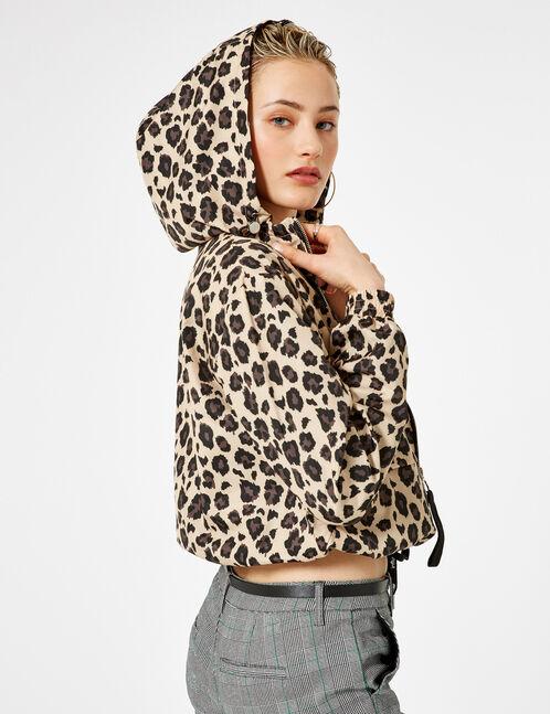 Lightweight beige and black leopard print jacket