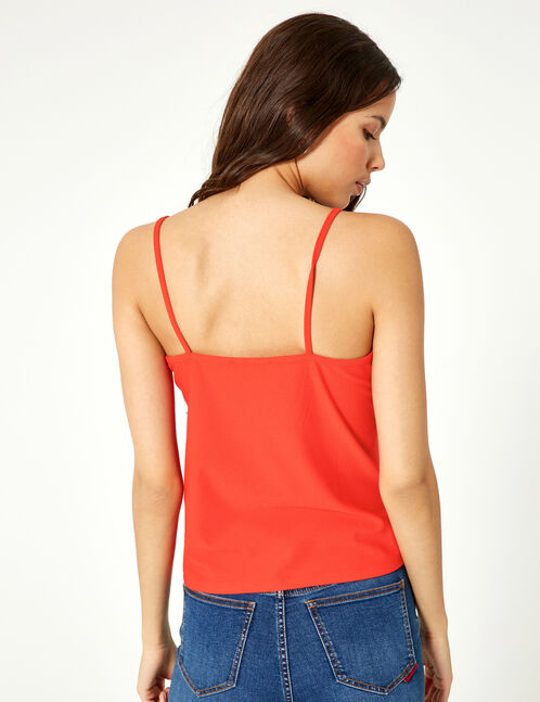 Red and black camisole with lace detail
