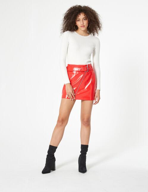 jupe zippée en vinyle rouge