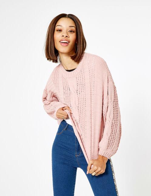 Light pink openwork chenille jumper