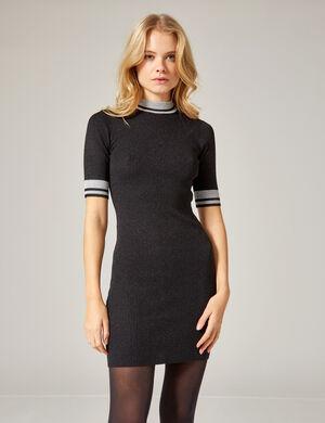robe pull avec lurex noir et argenté