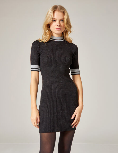 Black and silver sweater dress with lurex detail