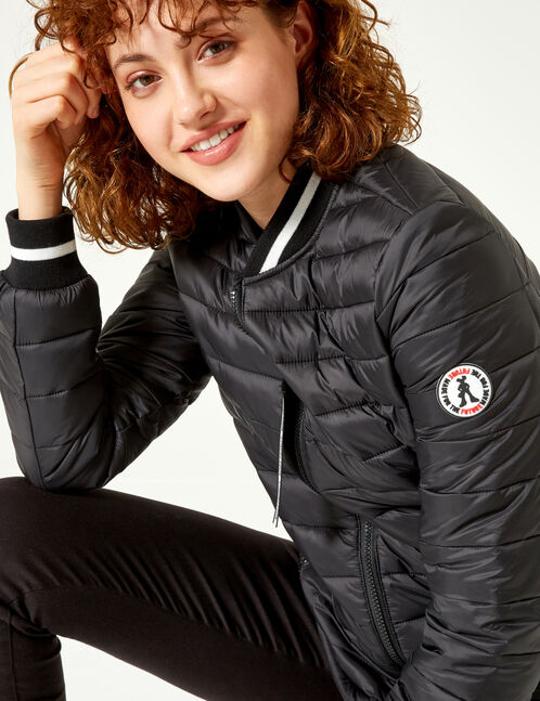 Black padded jacket with striped edging detail