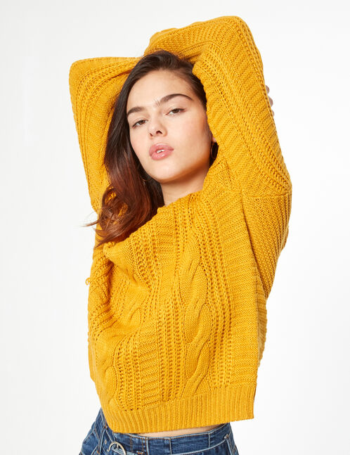 pull maille tressée