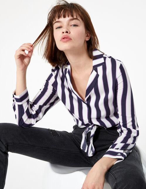 Navy blue, purple and white striped tie-fastening shirt