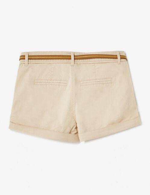 Beige belted shorts