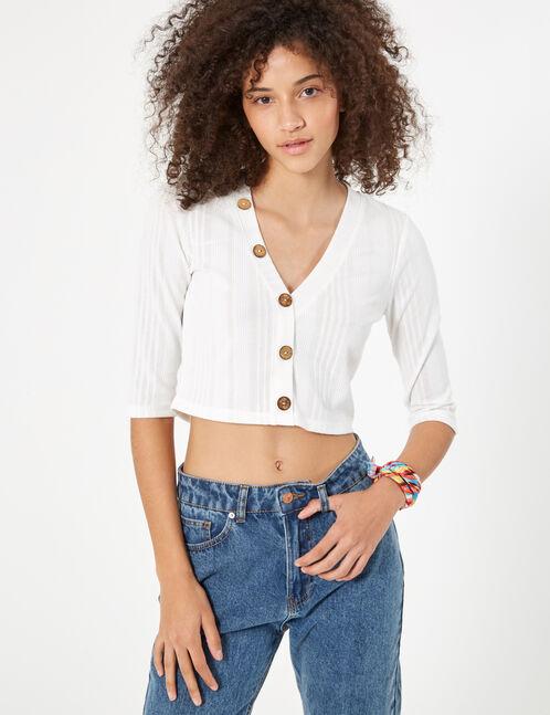 Cream buttoned rib-knit top