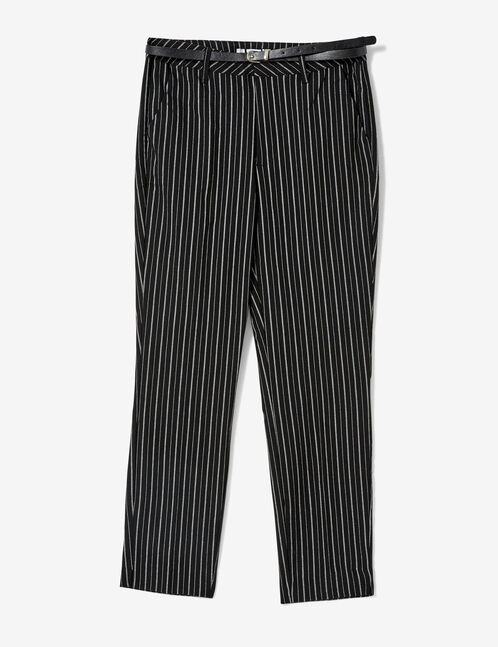 Black and cream striped trousers with belt